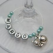Cat Personalised Wine Glass Charm